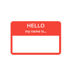 Badge or register isolated sticker hello my name vector