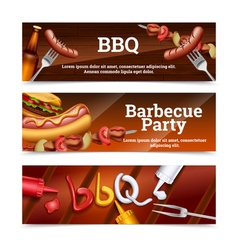 Barbecue Party Horizontal Banners vector