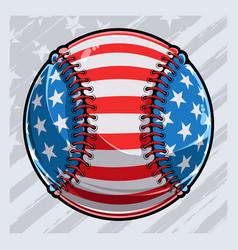 Baseball ball with american flag pattern vector