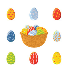 Basket and set of easter eggs vector