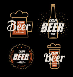 beer logo template collection set of emblems vector image