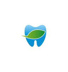 blue teeth bio care symbol wit leaf for dentist vector image