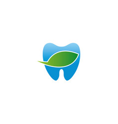 blue teeth bio care symbol witn leaf for dentist vector image
