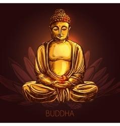 Buddha On Lotus Flower vector image