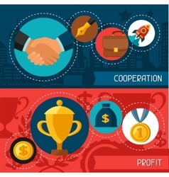 Business concept banners of cooperation and profit vector image