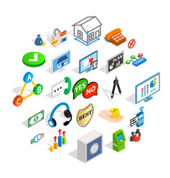 business problem icons set isometric style vector image