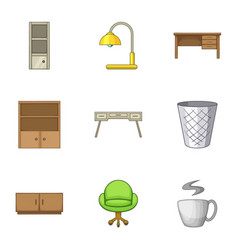 Cabinet icons set cartoon style vector