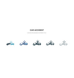 Car accident icon in different style two colored vector