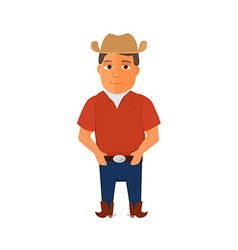 Cartoon Cowboy character on white background vector