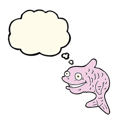 Cartoon happy fish with thought bubble vector