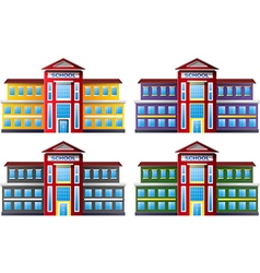 Cartoon of school building collection set vector