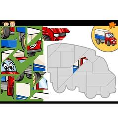 Cartoon truck jigsaw puzzle game vector