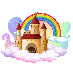 castle with rainbow on cloud isolated vector image