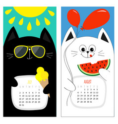 Cat calendar 2017 cute funny cartoon white black vector