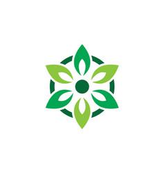 Circle laef eco nature logo vector