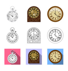 clock and time sign set of vector image