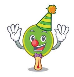 clown ping pong racket mascot cartoon vector image