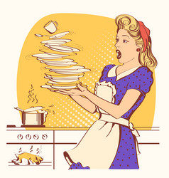 clumsy housewife and overlooked roast chicken in vector image