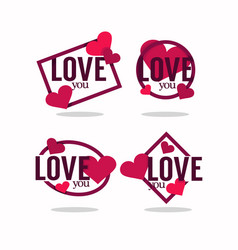 collection hearts and love vector image