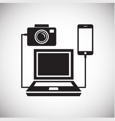 Digital camera computer connecting icon on white vector