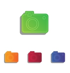 Digital camera sign Colorfull applique icons set vector image