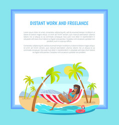 Distant work and freelance web poster woman lying vector