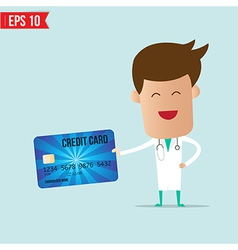 Doctor holding credit card vector image