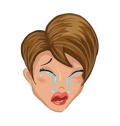 Emoticon girl cry vector