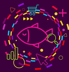 Fish on abstract colorful geometric dark vector