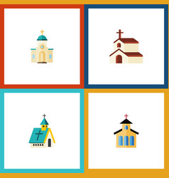 Flat icon christian set of religion catholic vector