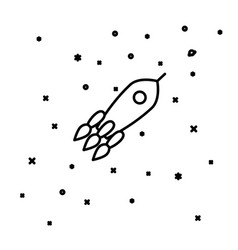 Flat linear rocket flying through space vector