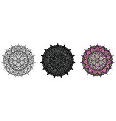 floral mandala with leaves for coloring book and vector image