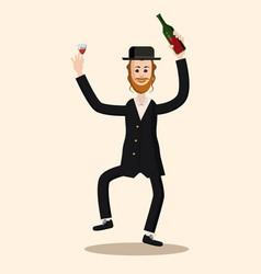 Funny cartoon jewish man dancing with vine vector