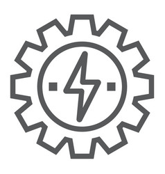 Gear with lightning line icon ecology and energy vector