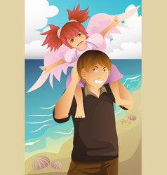 girl playing with her dad vector image