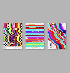 Glitch futuristic posters covers set design vector
