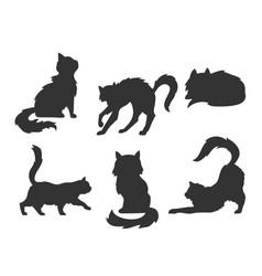 hand drawn cartoon silhouettes of the cats vector image