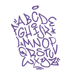 handwritten broad marker font alphabet artistic vector image