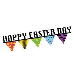 happy easter day sign with flags web on a white vector image