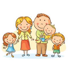 happy family with three children vector image