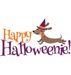 Happy halloweenie dachshund halloween vector
