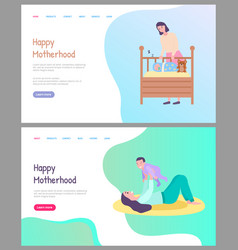 Happy motherhood mother playing caring for kid vector