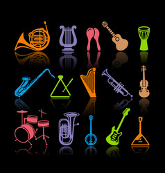Icons musical instruments vector