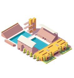Isometric low poly swimming pool vector