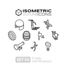 Isometric outline icons set 54 vector