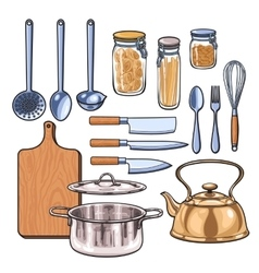 Kitchen utensils in a color sketch style vector