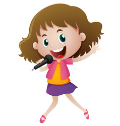 Little girl singing with microphone vector