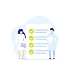 Medical examination doctors and checklist icon vector