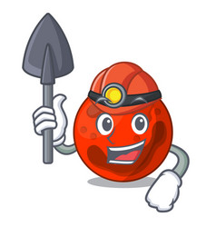 Miner mars planet mascot cartoon vector