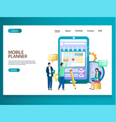 mobile planner website landing page design vector image